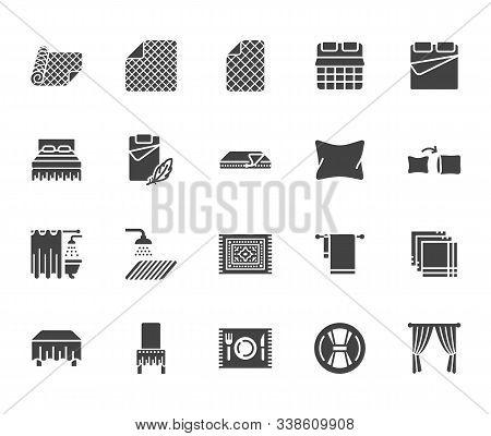 Linen Flat Glyph Icons Set. Bedroom Textile Blanket, Bed Mattress Cover, Pillow Pillowcase, Handkerc
