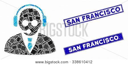 Mosaic Support Manager Pictogram And Rectangle San Francisco Seal Stamps. Flat Vector Support Manage