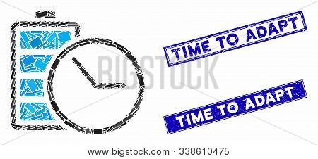 Mosaic Battery Clock Icon And Rectangle Time To Adapt Seals. Flat Vector Battery Clock Mosaic Icon O