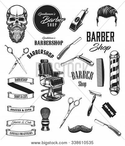 Barber Shop Vintage Vector Icons, Barbershop Mustaches And Beard Shave Salon Symbols. Barber Equipme