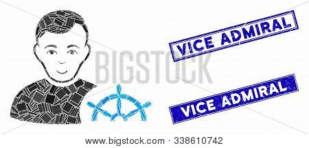 Mosaic Captain Icon And Rectangular Vice Admiral Seal Stamps. Flat Vector Captain Mosaic Icon Of Ran