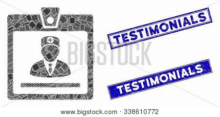 Mosaic Doctor Badge Icon And Rectangle Testimonials Stamps. Flat Vector Doctor Badge Mosaic Icon Of