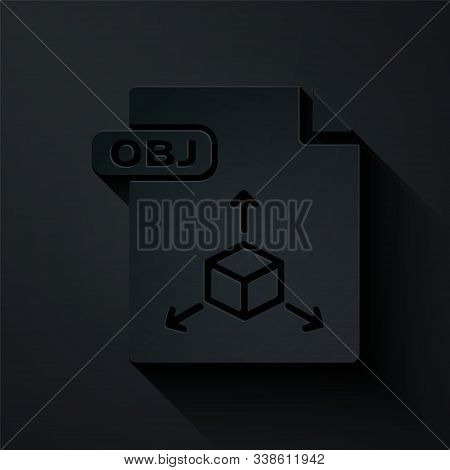 Paper Cut Obj File Document. Download Obj Button Icon Isolated On Black Background. Obj File Symbol.