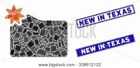 Mosaic New Folder Pictogram And Rectangular New In Texas Stamps. Flat Vector New Folder Mosaic Picto