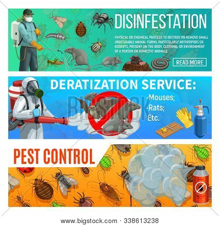 Pest Control Disinfestation And Deratization Health Sanitary Service, Vector Web Banners. Domestic I