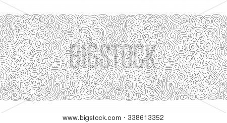 Black Hand Drawn Doodle Swirls, Swashes Vector Seamless Horizontal Pattern Border. Whimsical Decorat