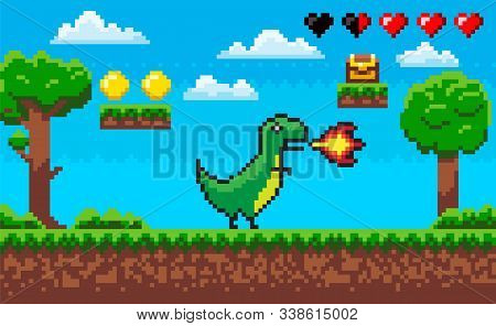 Pixel Game Character Vector, Treasure And Clouds Icons Of Life Hearts. Dinosaur With Flames From Mou