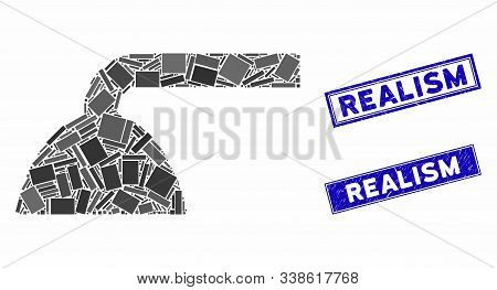 Mosaic Shower Head Icon And Rectangular Realism Stamps. Flat Vector Shower Head Mosaic Icon Of Scatt