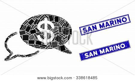 Mosaic Swift Wire Transfer Icon And Rectangular San Marino Seal Stamps. Flat Vector Swift Wire Trans
