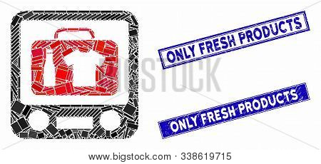 Mosaic Baggage Xray Screening Icon And Rectangle Only Fresh Products Watermarks. Flat Vector Baggage