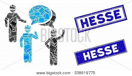 Mosaic Engineer Persons Forum Pictogram And Rectangle Hesse Rubber Prints. Flat Vector Engineer Pers
