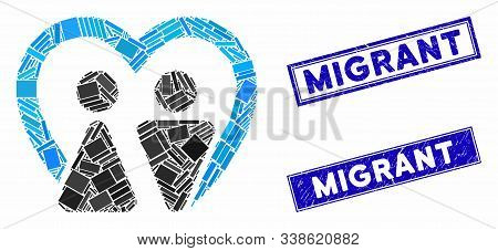 Mosaic Marriage Pictogram And Rectangle Migrant Seals. Flat Vector Marriage Mosaic Pictogram Of Scat