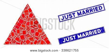 Mosaic Filled Triangle Pictogram And Rectangle Just Married Seals. Flat Vector Filled Triangle Mosai