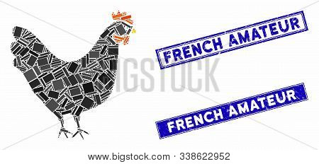 Mosaic Chicken Icon And Rectangular French Amateur Seal Stamps. Flat Vector Chicken Mosaic Icon Of R