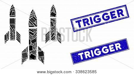 Mosaic Missiles Pictogram And Rectangular Trigger Seal Stamps. Flat Vector Missiles Mosaic Pictogram