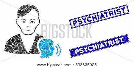 Mosaic Psychoanalysis Talking Icon And Rectangle Psychiatrist Seal Stamps. Flat Vector Psychoanalysi