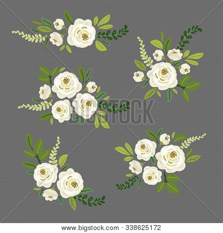 Cute Spring Collection Floral Elements As Bouquets Of Hand Drawn Rustic White Roses Flowers And Gree