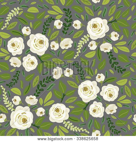 Cute Spring Collection Floral Seamless Background With Bouquets Of Hand Drawn Rustic White Roses Flo