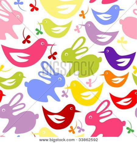 Seamless pattern with Easter rabbits and baby birds