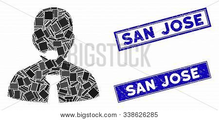 Mosaic Support Operator Icon And Rectangular San Jose Stamps. Flat Vector Support Operator Mosaic Ic