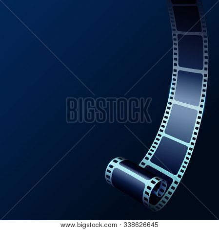 3d Cinema Film Strip In Perspective. Vector Template Cinema Festival With Place For Text. Movie Desi