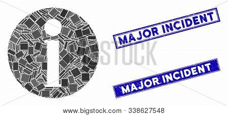 Mosaic Info Pictogram And Rectangular Major Incident Stamps. Flat Vector Info Mosaic Pictogram Of Ra