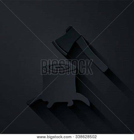 Paper Cut Wooden Axe In Stump Icon Isolated On Black Background. Lumberjack Axe. Axe Stuck In Wood.
