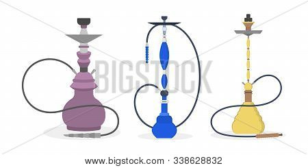 Set Of Vector Illustration Of Various Hookah. Collection Of Colorfull Hookahs