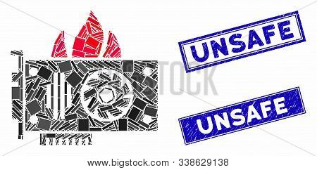 Mosaic Burn Video Graphics Card Icon And Rectangle Unsafe Stamps. Flat Vector Burn Video Graphics Ca
