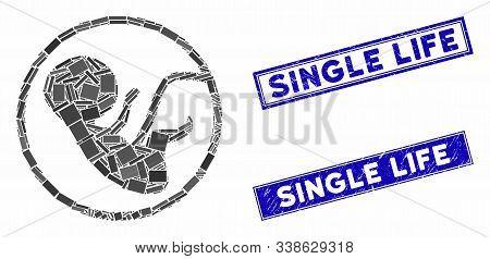 Mosaic Human Embryo Pictogram And Rectangular Single Life Seal Stamps. Flat Vector Human Embryo Mosa