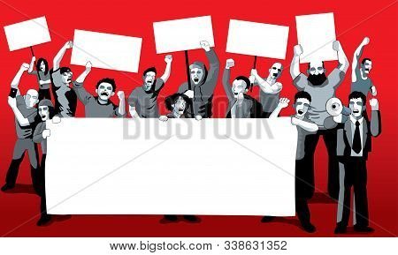 A Group Of Protestors With Mega Phone, Banner And Signs. With Solid Colour Background. Vector.