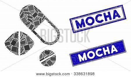 Mosaic Medication Pills Icon And Rectangular Mocha Seal Stamps. Flat Vector Medication Pills Mosaic