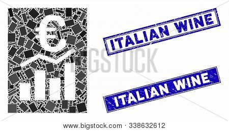 Mosaic Euro Sale Report Icon And Rectangular Italian Wine Seals. Flat Vector Euro Sale Report Mosaic