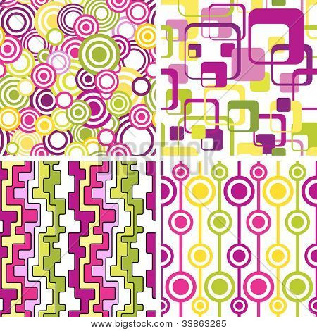 Set of stylish seamless geometrical backgrounds