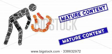 Mosaic Cough Pictogram And Rectangular Mature Content Stamps. Flat Vector Cough Mosaic Pictogram Of