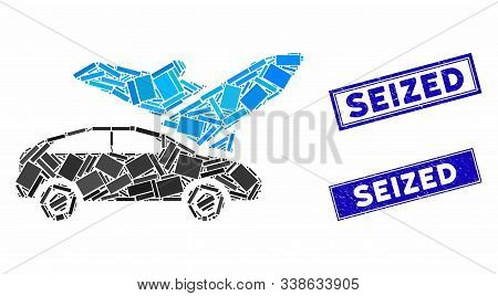 Mosaic Transport Icon And Rectangular Seized Watermarks. Flat Vector Transport Mosaic Icon Of Random
