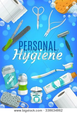 Personal Hygiene Vector Design Of Body Care Products And Toiletries. Toothpaste, Toothbrush And Toil
