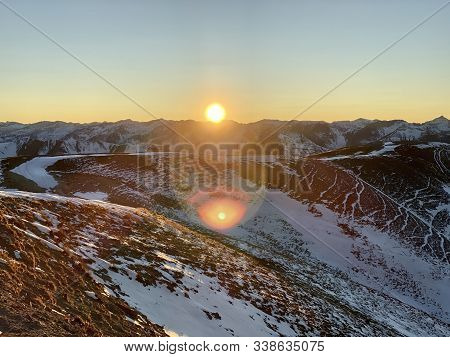 Sun Setting Over Engineering Pass In Colorado