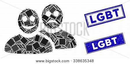 Mosaic Glad And Sad People Pictogram And Rectangle Lgbt Seal Stamps. Flat Vector Glad And Sad People