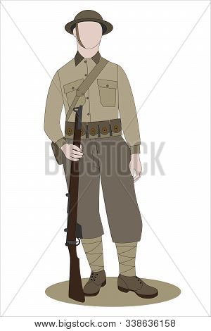 Ww1 British Army Soldier From France 1918, Isolated On White