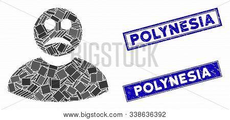 Mosaic Sad Man Icon And Rectangular Polynesia Stamps. Flat Vector Sad Man Mosaic Icon Of Random Rota