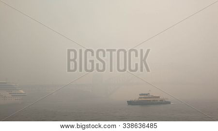 Invisible Sydney Harbor Bridge In The Smoke Haze, From Bush Fire In Nsw, Caused Sydney's Air Quality