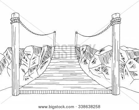Bridge Over The Abyss Graphic Black White Landscape Illustration Vector