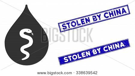 Flat Vector Snake Oil Icon And Rectangle Stolen By China Stamps. A Simple Illustration Iconic Design