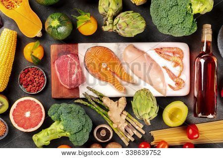 Food Variety, A Flat Lay Composition With Meat, Fish, Chicken And Shrimps, Vegetables And Fruits, Wi