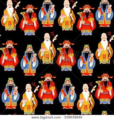 The Sanxing. Three Chinese Lucky Gods: God Of Longevity (shou), Prosperity (lu) And Fortune (fu).  S