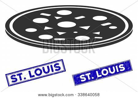 Flat Vector Round Pizza Pictogram And Rectangular St. Louis Rubber Prints. A Simple Illustration Ico