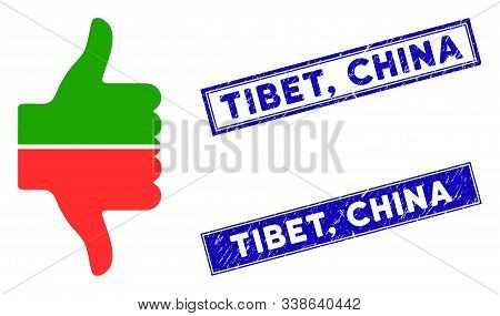 Flat Vector Yes No Gesture Pictogram And Rectangular Tibet, China Seal Stamps. A Simple Illustration