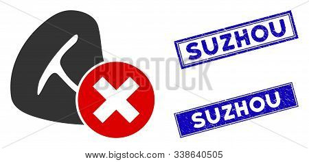 Flat Vector Stop Meat Eating Icon And Rectangular Suzhou Seal Stamps. A Simple Illustration Iconic D