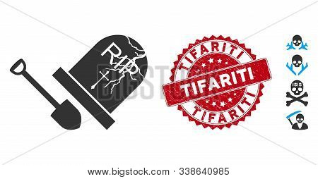 Vector Grave Exhumation Icon And Rubber Round Stamp Seal With Tifariti Text. Flat Grave Exhumation I